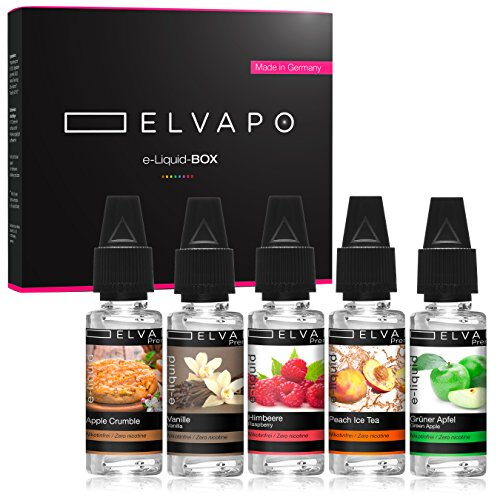 5 x 10ml Elvapo Premium E-LIQUID-BOX | Made in Germany | Grüner Apfel, Peach Ice Tea, Himbeere, Apple Crumble, Vanille| Probierset für E-Zigaretten und E-Shishas | 0mg (ohne Nikotin)
