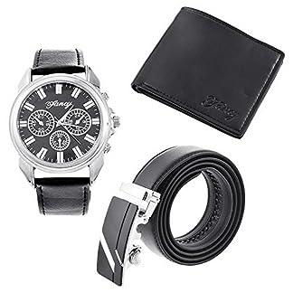 RainBabe-Schwarz-Herren-Geschenkset-mit-Armbanduhr-Geldbrse-Grtel-Geschenkset-fr-Herren