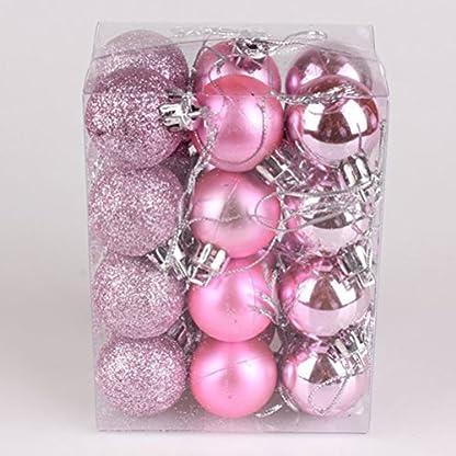 Tinksky-24pcs-Weihnachtskugel-verziert-rosafarbene-Kugel-Weihnachtsbaum-Dekorationen-fr-Feiertags-Hochzeitsfest-Dekoration