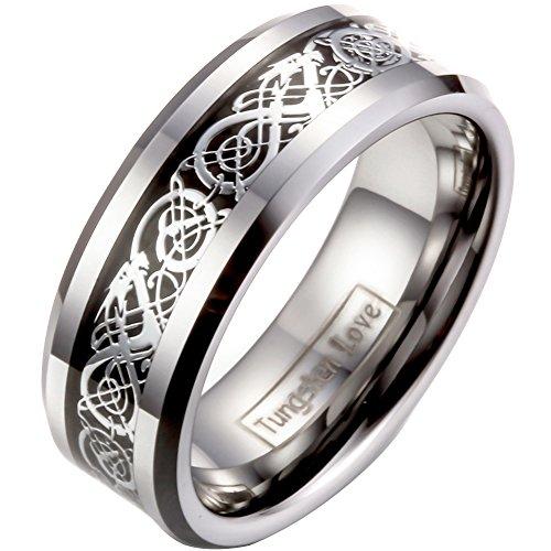 JewelryWe Schmuck Herren Wolframcarbid Ring Band Silber Schwarz Irish Celtic Knot Irischen Keltisch Knoten Drachen Jahrgang Hochzeit Größe 49 bis 76