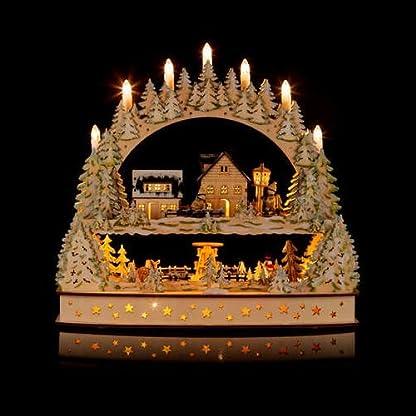 Groer-3D-Schwibbogen-Winterlandschft-mit-LED-Beleuchtung-drehender-Pyramide-und-Timer-Hochwertig-und-detailreich-verarbeitet-Weihnachtsdekoration