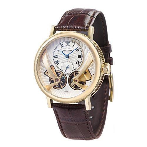 Thomas-Earnshaw-Beaufort-Anatolia-ES-8059-02-mechanische-Herren-Armbanduhr-mit-Automatikgetriebe-silbernes-Zifferblatt-mit-klassischer-Analoganzeige-braunes-Lederarmband