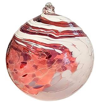 Oberstdorfer-Glashtte-Kugel-zum-hngen-Bunte-Glaskugel-Ornament-rosa-violett-wei-Gedreht-Fensterdekoration-mundgeblasenes-Kristallglas-Durchmesser-ca-9-cm
