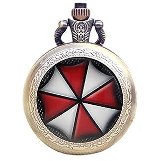 Geschenkbox-Resident-Evil–Umbrella-Corporation-Antik-Bronze-Gravur-Quarz-TaschenuhrKettenuhr