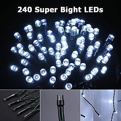 VegaHome-240er-LED-Eisregen-Lichterkette-Eiszapfen-Auen-Lichtervorhang-Weihnachten-Lichter-Grne-Kabel-Innen-Deko-fr-Xmas-Garten-Party-Hochzeit-Strombetrieben-mit-Stecker-KaltweiEnergieklasse-A