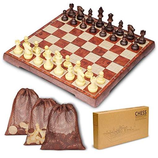 HENMI-Schachspiel-Einklappbar-Schachbrett-Pdagogische-Schach-mit-Magnetisch-Deluxe-2in1-Schach-mit-Portable-Klappbrett-312x312CM-Design-fr-Kinder-und-Erwachsen-mit-Aufbewahrungsbeutel
