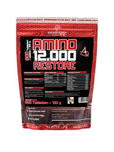 BWG Amino 12.000, Aminosäuren Komplex mit 600 Tabletten, Massiv hochkonzentiert, with BCAA`S, Muscle Line, Muskelaufbau, für Kraftsport und Bodybuilder
