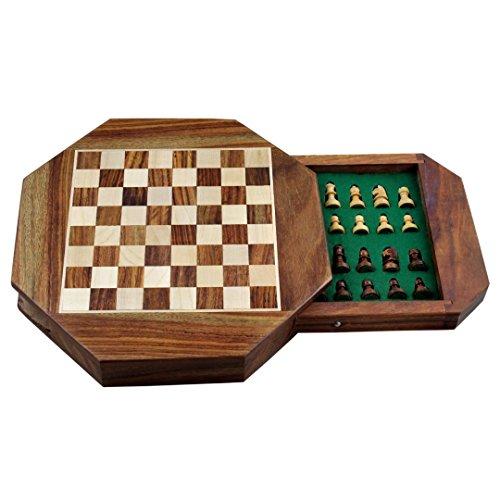 Zap-Impex-Holz-Magnetic-octangle-Form-Schachfiguren-Set-und-Holzbrett-Reisen-Spiele-7-Zoll-Schach