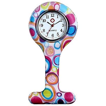 LANCARDO-UhrenKrankenschwester-Armbanduhr-FOB-Uhr-Damen-Taschenuhr-Analog-Quarzuhr-aus-Silikon-Mehrfarbig-Rosa