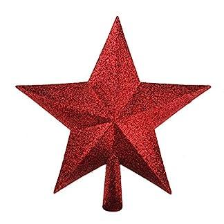 Floristrywarehouse-Weihnachtsbaumspitze-in-Sternenform-glitzernd-216-cm-Rot