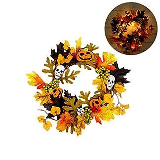 HELEVIA-Herbst-Deko-LED-Kranz-Tr-mit-dekorierten-Herbstkranz-Trkranz-Weihnachtskranz-Wandschmuck-Dekoration-fr-Halloween-Thanksgiving-Weihnachten