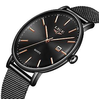 LIGE-Herren-Armbanduhr-Edelstahl-wasserdicht-modisch-einfach-Milanaise-Netzband-fr-Herren-Datum-Casual-Kleid-Analog-Quarzuhr-Schwarz