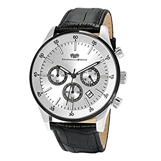 Rhodenwald-Shne-Goodwill-Herrenuhr-Chronograph-Edelstahl-bi-color-silber-5-ATM-Przisions-Quarzwerk-Stoppuhr-Totalisatoren-Lederarmband-schwarz-Quarzuhr-Echtleder-Armband-Armbanduhr-analog