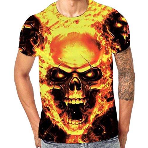 OHQ-Mens-Skull-3D-Druck-T-Shirt-Kurzarm-T-Shirt-Bluse-Tops-3D-Herren-Schdel-Digital-Printed-Rundhals-T-Shirt-Top