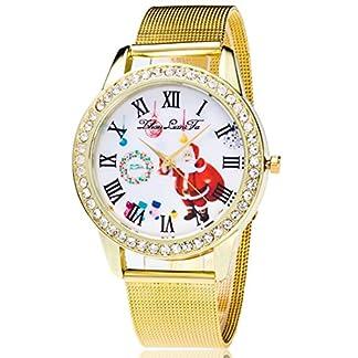 Souarts-Damen-Edelstahl-Weihnachtsmann-Armbanduhr-Quartzuhr-Analog-mit-Batterie