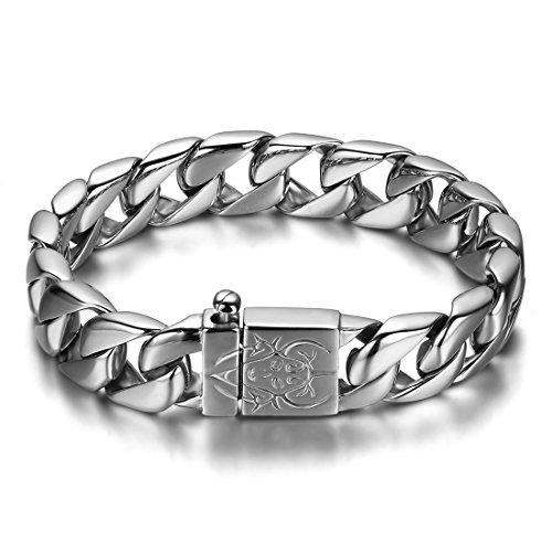 JewelryWe Schmuck Edelstahl Herren Armband, Biker schwer Fahrradkette Armkette, Partnerarmband Armreif Silber 23cm Breite 15mm