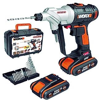 WORX-WX176-SwitchDriver-Akkuschrauber-20V-mit-drehbarem-Doppel-BohrfutterElektrische-Drehmoment-Einstellung-LED-Licht