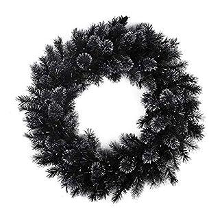 belukies-Knstlicher-Kranz-Trkranz-Girlande-Dekokranz-Wandkranz-Krnze-Weihnachtskranz-Hngend-Weihnachtsdekoration-Fr-Tr-Outdoor-Weihnachts-Parties-Feste-Tren-Feste-Deko-30-cmSchwarz
