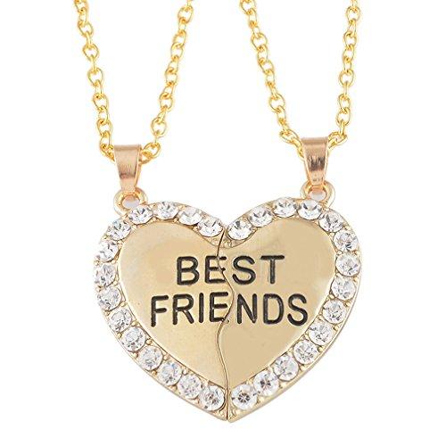 """MJARTORIA Damen Mädchen Kette Gold Farbe Halskette mit Gravur """"Best Friends"""" Herz Anhänger Jugendliche Freundschaftsketten 2 Stück"""