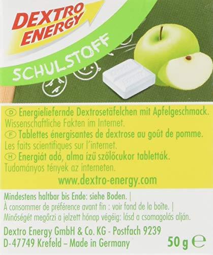 Dextro Energy Schulstoff Apfel / Mini Traubenzucker-Täfelchen mit schnell verfügbarer Glucose und Prickel-Spaß, 1 Pack (50 g)
