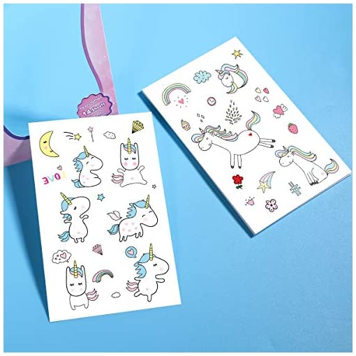 TOYMYTOY-Einhorn-Aufkleber-Tattoo-Einhorn-Nagel-Aufkleber-Unicorn-Sticker-Farbenfrohe-Temporre-Tattoos-Unicorn-Kinder-Geburtstags-Einhorn-Party-Favors-14-Muster