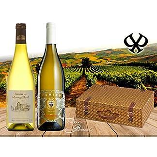 100-White-Das-Weiss-wein-Geschenk-Set-fr-besondere-Anlsse-Baron-Montgaillard-Blanc-Frescobaldi-Pomino-Bianco-DOC-in-2er-Geschenk-verpackung-Weidenkorb-Blanc-Chardonnay-Geburtstag-Italien-Frankreich