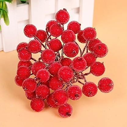 200pcs-Mini-Weihnachten-Dekoration-Knstliche-Frucht-Beere-Holly-Blumen-Rot