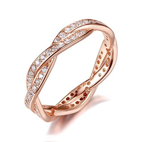 Presentski Zirkonia 925 Sterling Silber Rose Gold Hochzeit Ring für Ewigkeit Frauen Damen Mädchen