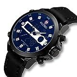Herren-Uhren-Mnner-Militr-Digital-Sport-Wasserdicht-Groe-LED-Schwarz-Leder-Armbanduhr-Mann-Multifunktions-Wecker-Datum-Kalender-Analoge-Digitaluhr-Silber