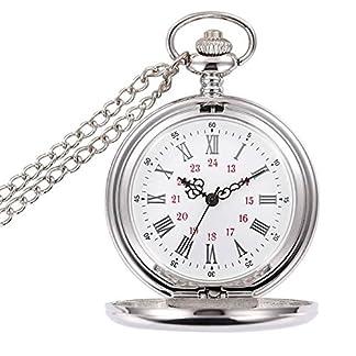 WIOR-Taschenuhr-Retro-glatten-Quarz-Taschenuhr-Classic-Mechanische-fobwatch-fr-Herren-Damen-mit-Kette-Geschenk-Box