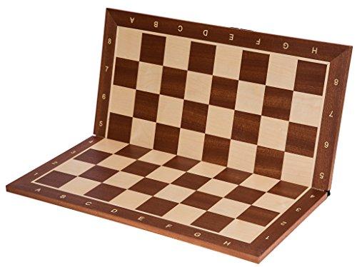 SQUARE-Pro-Schachbrett-Nr-5-Mahagoni-SK-Faltbar-Feld-50-mm-Schachspiel-aus-Holz