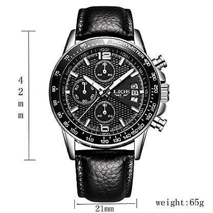 LIGE-Herren-Armbanduhr-Chronograph-Quarzuhr-Geschenk-Lederuhr-modisch-wasserdicht-schwarzes-Lederband-fr-Jungen-und-Militr