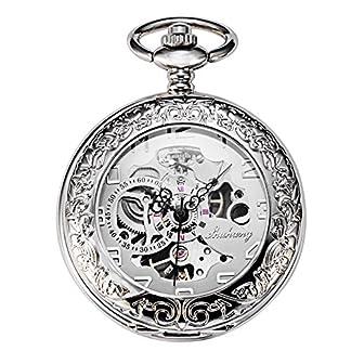 TREEWETO-Silber-Mechanische-Taschenuhr-Herren-Skelett-Uhren-Spezielle-Lupe-Halber-Jger-Elegantes-Gehuse-Graviert-Taschenuhren-mit-kette-und-Geschenkbox