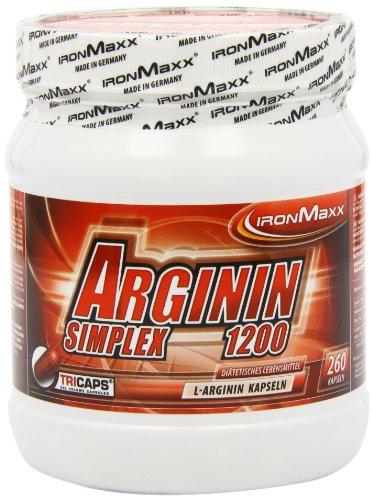 IronMaxx Arginin Simplex 1200 / Sehr hohe Konzentration von L-Arginin Aminosäuren / Ideal für Bodybuilding / Muskelaufbau, Kraftaufbau und Ausdauertraining / Supplement / 260 XXL Kapseln (Tricaps)