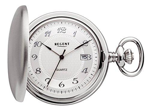 Regent-Taschenuhr-Quarz-Silber-Datum-P13