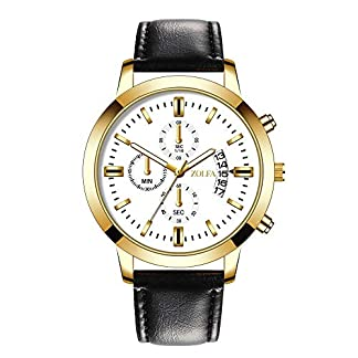 Souarts-Armbanduhr-Mnner-Ultradnne-Mesh-Leder-Armband-Datum-Business-Quarz-Uhr-mit-3-Klein-Zifferbltter-fr-Herren