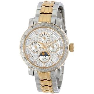 Akribos-XXIV-Damen-der-grandiosen-diamond-accented-Edelstahl-Armbanduhr-mit-zweifarbigen-Link-Armband
