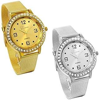 JewelryWe-Damen-Armbanduhr-Elegant-Charm-Edelstahl-Mesh-Band-Quarz-Analog-Uhr-mit-Strass-Digital-Zifferblatt-Gold-Silber