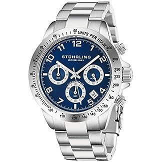 Stuhrling-Original-Herren-Quarzchronograph-Uhr-Blau-Zifferblatt-Tachymeter-Sport-Armbanduhr-Solides-Edelstahl-Gliederarmband-Faltschliee-Wasserdicht-bis-auf-50-Meter-Tiefe-Designer-Uhr-Kollektion