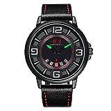 Menton-Ezil-Freizeit-Quarz-Herren-Armbanduhr-Automatisch-mechanische-Uhr-Lederarmband-Datumsanzeige-wasserdicht-Leuchtender-Zeiger