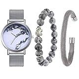 Souarts-Damen-Geschenkset-Armbanduhr-Quartzuhr-Analog-mit-Batterie-mit-Armband-Armreif-Set-Marmor-Silber-Farbe