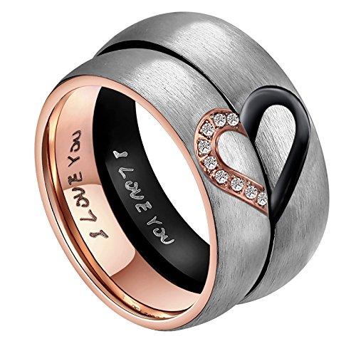 """Seine & Ihre für """"Real Love"""" Herz Versprechen Ring Edelstahl Hochzeit Trauringe Bandringe 6MM (Preis nur für 1)"""