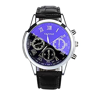 Hansee-Herren-Quartz-Analog-Armband-1-Cent-Artikel-Armbanduhr-Lederband-Dekoration-Sportuhr-Geschenk-Alugehuse-Quarzwerk-Blue-Ray-Glass