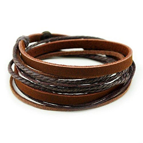Unisex Echtleder Manschette Wickel Armband Seil Wristband mit 3 verstellbaren Knopf