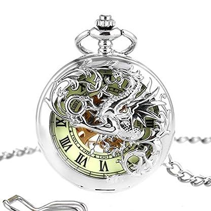 Mechanische-Taschenuhr-Dream-Dragon-ManChDa-Skeleton-Grnes-Zifferblatt-Silber-Doppel-Kasten-mit-Kette-Geschenkbox