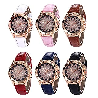 Godagoda-Damen-Armbanduhr-Creative-Glitzer-Blume-Design-PU-Leder-Armband-Quarzuhr-fr-Mdchen