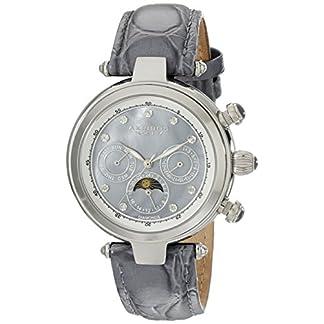Akribos-XXIV-Damen-Armbanduhr-Edelstahl-diamond-accented-mit-grau-Leder-Band