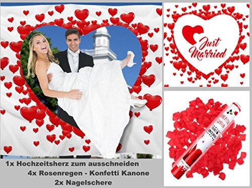 Hochzeitsherz-4x-Rosenregen-40cm-2x-Nagelschere-Hochzeitsherz-zum-Ausschneiden-fr-das-Brautpaar-inkl-2-Nagelscheren-und-4-Party-Popper-Konfetti-Shooter-Bedrucktes-Bettlaken-das-Hochzeitsspiel