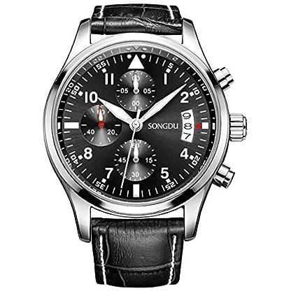 SONGDU-Herren-Chronograph-Multifunktions-Quarz-Uhr-Armbanduhr-mit-Schwarzes-Leder-Armband-und-Schwarzes-Zifferblatt-DM-9202-P01EYA