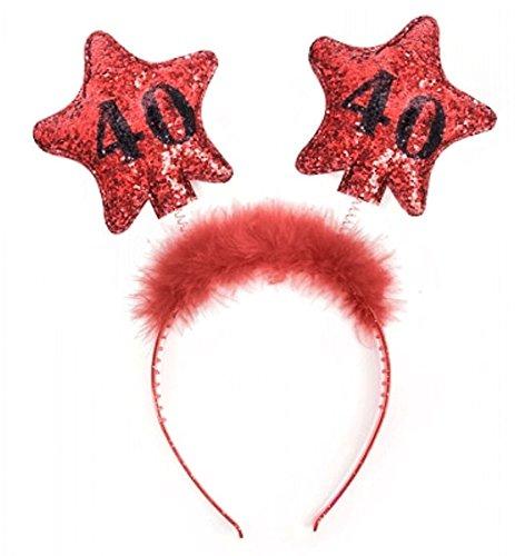 PartyDeco Haarreif zum 40. Geburtstag mit bunter Federboa und Sternen, Modell:OP40-Karton